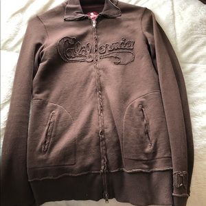 Throwback hollister brown zip up